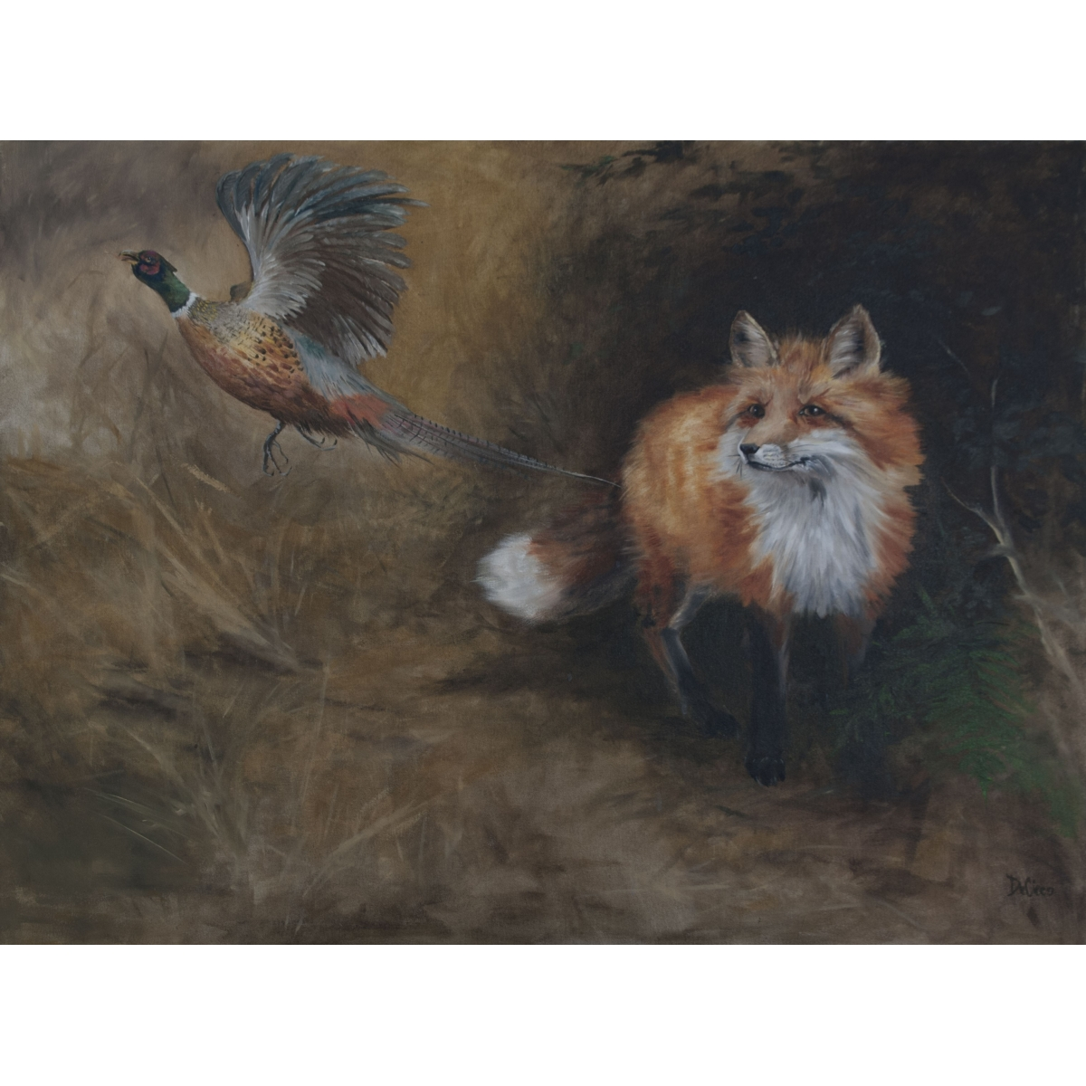 Fox And Pheasant Oil Painting On Canvas Artist Elizabeth