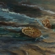 """Ocean Treasures"" Dramatic Wave Crashing on Cape Cod beach brush stokes"