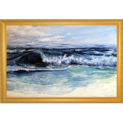 """Surf 's Up"" Oil Painting on canvas with gold frame"