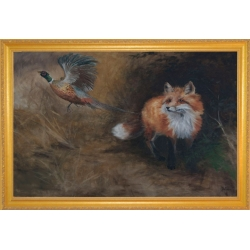 """Fox and Pheasant"" - Oil Painting On Canvas"