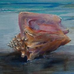 """Coastal Seashell"" - Seashell on Sandy beach brush strokes"