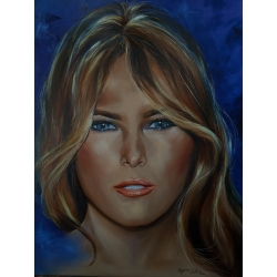 Closeup image of Melania Trump fine oil painting by Elizabeth DeCicco.