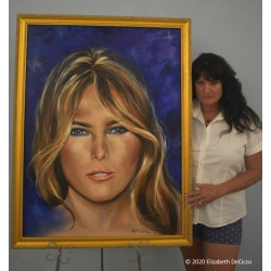 Melania Trump fine oil painting by Elizabeth DeCicco.